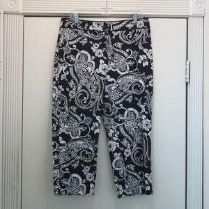 WHBM Black & White Capri Legacy pants size 12